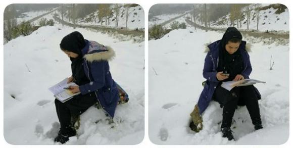 نبود اینترنت معلم اشنویه ای را مجبور به کوهنوردی در برف کرد